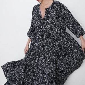 Black Zara Floral Maxi Dress